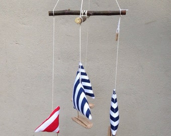 Nautical sailboat baby mobile, baby gift, cotton sailboat, red blue navy and white, room decor, nursery mobile, natural matirials