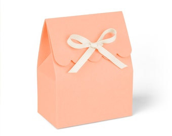 Favor Boxes, Coral with Ivory Ribbon // Set of 8