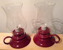 Vintage oil lamps / hurricane oil lamps / lamplight farms  / burnt red, cup-like base