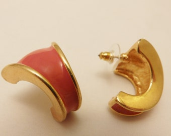 Gold Tone Red Napier Clip On Earrings