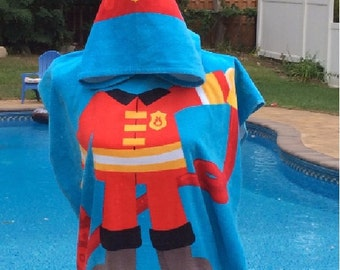 Fireman Fire Fighter Hooded Beach Towel Poncho – Personalized