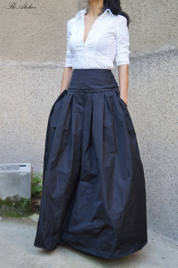 Lovely Black Long Maxi Skirt/ High or Low Waist Skirt /Long