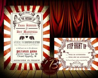 Circus Wedding Invitation Set Printable Printed Digital Elephant Stripes Vintage Circus Carnival