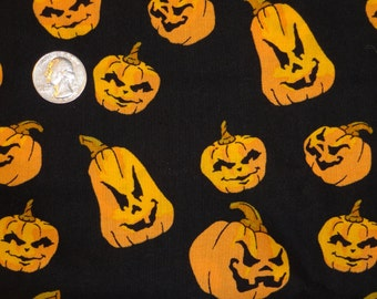 Halloween Scary Jack-o-lanterns Pumpkins JoAnn Cotton Quilting Fabric 1 3/4 yard