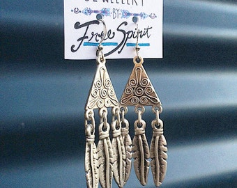 Silver feather indian earings