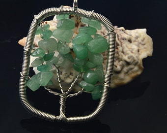 Green Aventurine  Tree of  Life  Pendant , Jewelry Supply