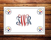Custom Made Pittsburgh Steelers NFL Monogrammed Note Cards and Envelopes