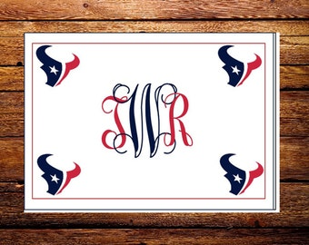 Custom Made Houston Texans NFL Monogrammed Note Cards and Envelopes