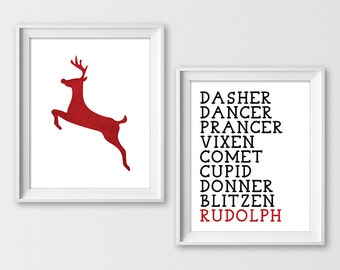 Merry Christmas Printables, Reindeer Art, Christmas Wall Art, Reindeer Names Prints, Christmas Decor, Christmas Prints, Instant Download