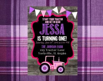 Pink and Purple Tractor Chalkboard Birthday Invitation