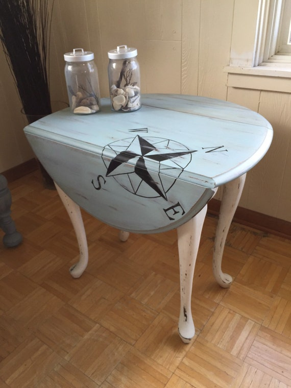 Nautical beach themed drop leaf table for Nautical kitchen table