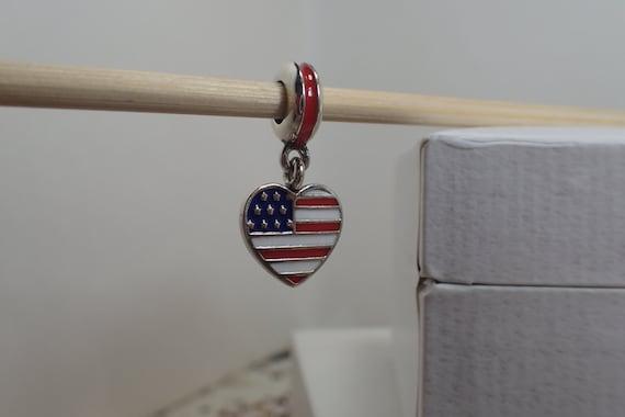 Authentic Pandora Charm Usa Heart Flag    791548enmx    New