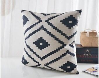 "Natural/ Black Aztec Pillow cover, geometric printed cotton linen cushion cover/pillow case / cushion shell 22x22""/24x24"""