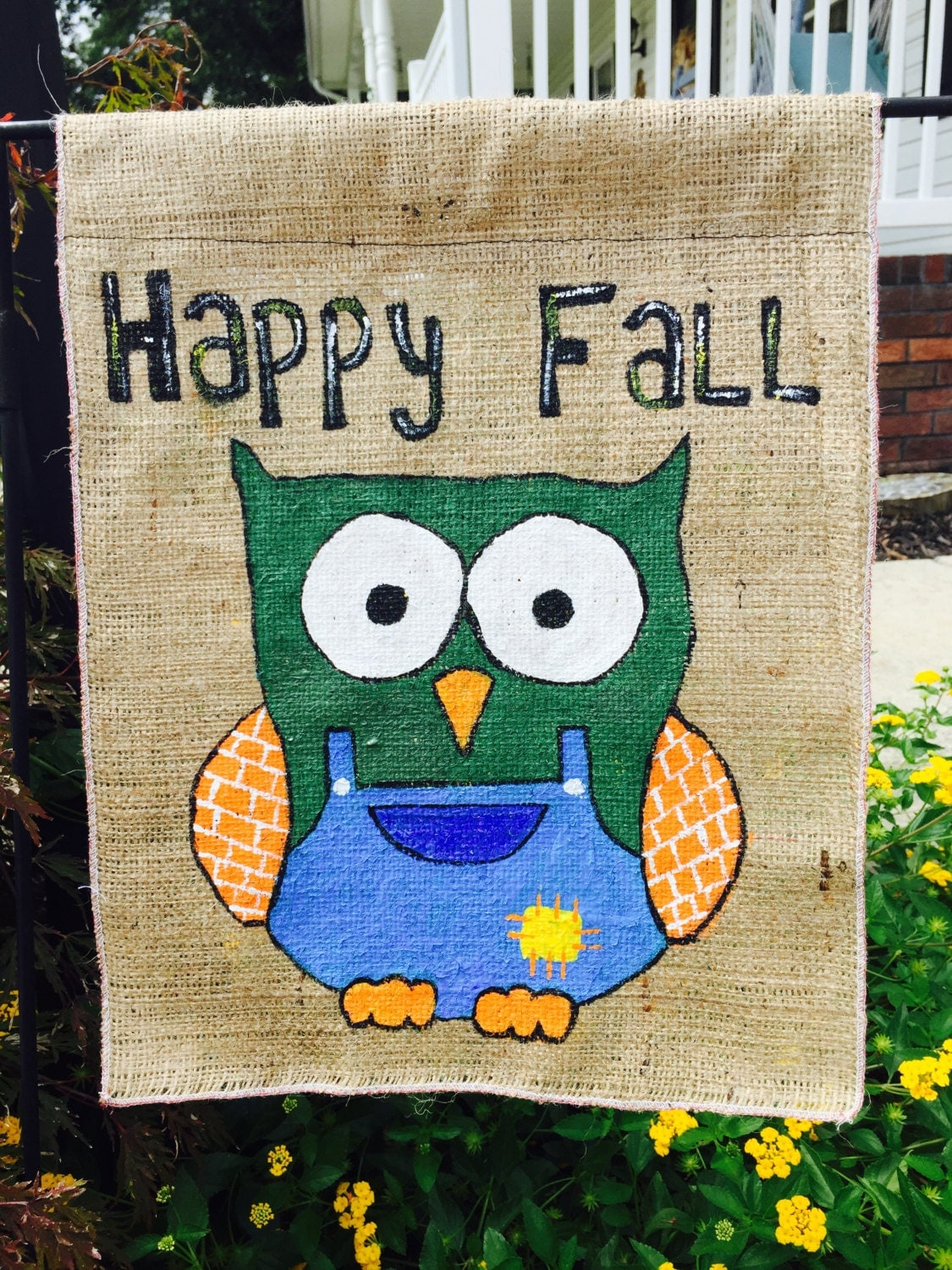 Fall Decorations Happy Fall Burlap Banner Flag Outdoor Indoor