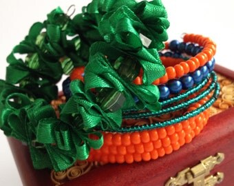 Set Bracelet/ Green Blue Orange/ Memory Wire Bracelet/ Beads Ribbon Bracelet/ Memory wire bracelet/ Beaded Wire Bracelet/ Ribbon Jewelry