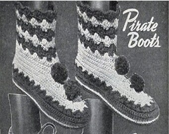 CROCHET BOOT Slipper Pattern Slipper Boots Vintage Greenland Boots Slipper Crochet Socks chunky booties Moccasin Slippers crochet Shoes