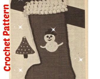 CROCHET CHRISTMAS STOCKING Pattern Vintage 70s Crochet Christmas Stocking Crochet Christmas Decor