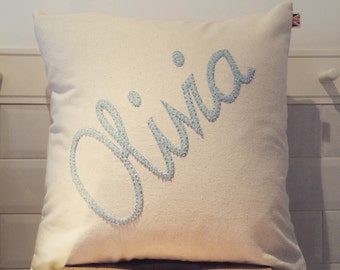 Hand beaded personalised cushion   beaded pillow   decorative cushion   beaded throw pillow   personalised gift   beaded name