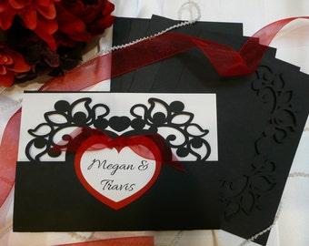 Black and Red Heart Invitation Wedding Folders/ Wedding Folders/ Invitation Folders/ Elegant Wedding/ DIY Wedding/ Invitations/ Folders