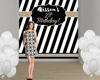 Elegant Birthday Party Personalized Photo Backdrop - Milestone Party Backdrop - Photo Backdrop- Custom Backdrop, Black and White Backdrop