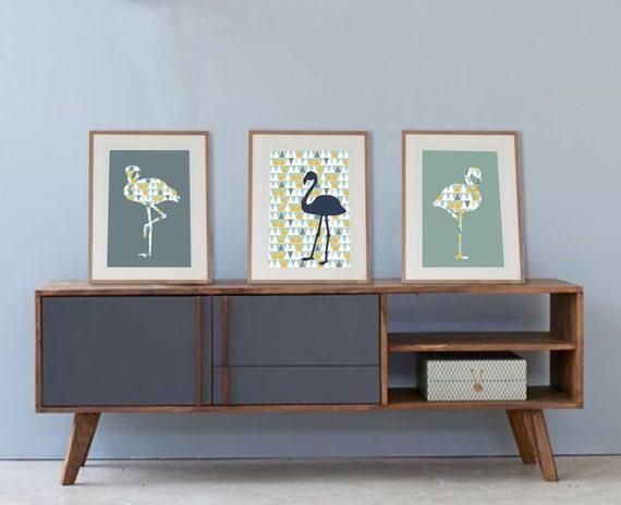 3 affiches scandinaves avec flamants roses tendances poster for Decoration murale scandinave