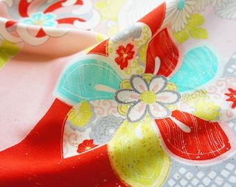 Vintage Japanese girl's kimono fabric **Pink Clouds**