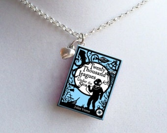 Twenty Thousand Leagues Under The Sea with Tiny Heart Charm - Miniature Book Necklace