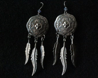 Native American Shield with Feathers - Sterling Silver Dangle Earrings