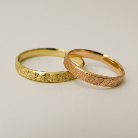 rustic wedding rings set for men and women 14 karat solid gold simple wedding band - Rustic Wedding Rings