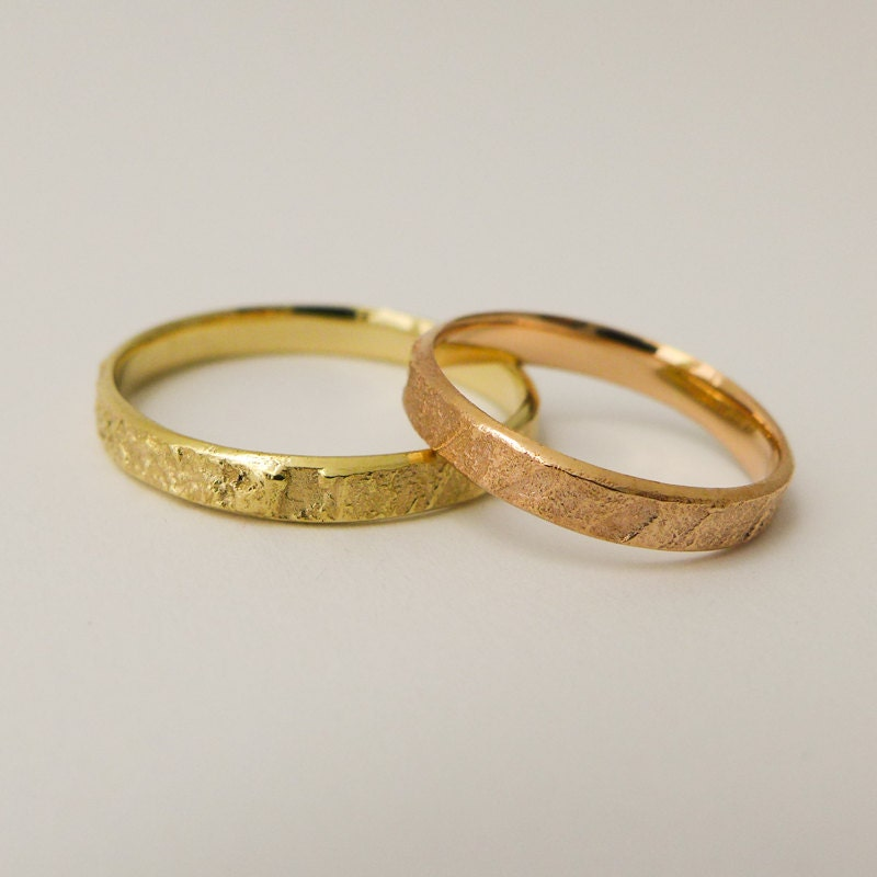 Rustic Wedding Rings Set For Men And Women Karat Solid