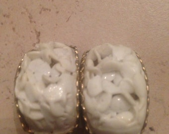 Vintage White Carved Earrings CostumeJewelry