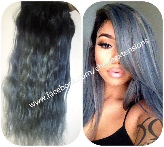 Balayage Dip tinte 8A Ombre Remy Balayage gris carbón humano Clip en extensiones de cabello color