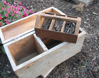Rustic handcrafted vintage wooden toolbox