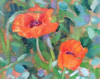 Poppies - Original Oil Painting - 6x6 inches