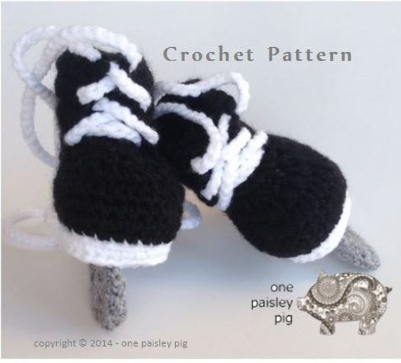 Hockey Skate Baby Booties Instant Download PDF CROCHET