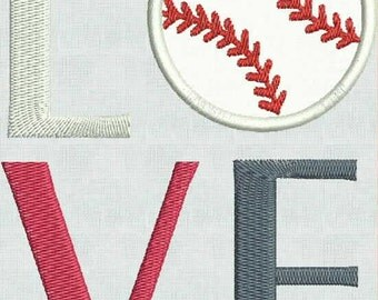 Instant Download Machine Embroidery Fonts Designs LOVE Baseball Aplique Two Sizes Pes Format Exclusive Embroidered Sayings