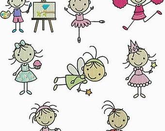 INSTANT Download PES FORMAT only Machine Embroidery Designs 8 Stick Girls Artist Cheerleader Fairy Princess Soccer Ballerina Ballet Cupcake