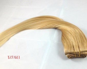 "18""-20"" Premium Remy (Remi) Human Hair Wefts Extensions Ombre Copper Blonde to Light/Bleach Blonde (T27/613) Dip Dye Full Head Sew Glue Bond"