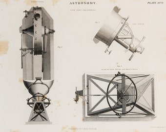 1850s Antique Astronomy Print, Telescope, Star Gazing, Space. Black and White Astronomical Print