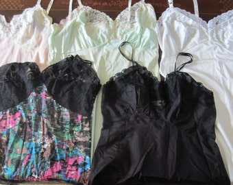 Lot of 5 vintage lace and satin full slips
