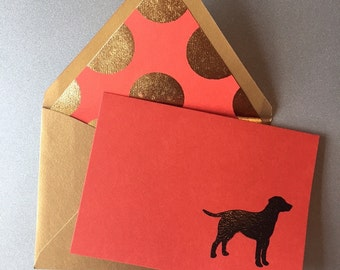 Embossed dog with lined envelope