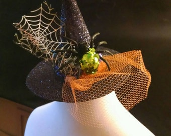 Mini Witch Hat - Witch Hat Fascinator - Witch Hat Headband - Sparkle Witch Hat - Witch Costume - Witch Hat Costume - Glitter - Witch Hat 6""