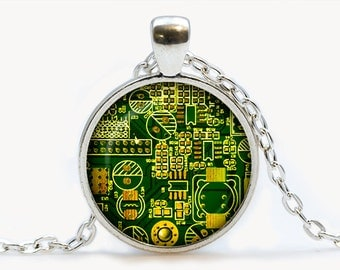 Circuit Board pendant. Printed Сircuit Board electronic Necklace. PCB Computer board jewelry, Birthday gift