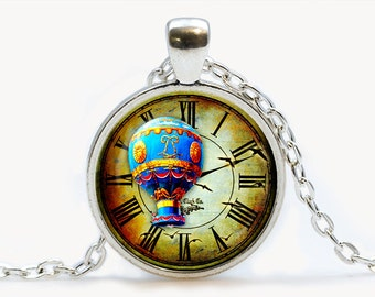 Vintage Clock with Balloon pendant. Vintage Clock Necklace. Vintage Clock jewelry. Birthday gift