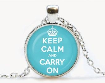 Keep calm and carry on Blue Pendant. Keep calm and carry on Necklace. Keep calm and carry on jewelry, blue. Birthday gift