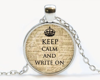 Keep calm and write on Pendant. Keep calm and write on Necklace. Keep calm and write on jewelry. Birthday gift