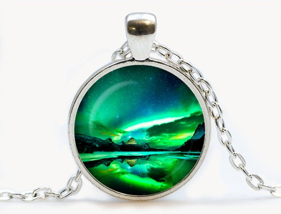 northern lights pendant northern lights necklace galaxy