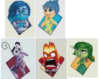 PDF Cross Stitch pattern - 0039.Joy / Sadness / Anger / Fear / Disgust ( Inside Out ) - INSTANT DOWNLOAD