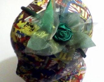Green flower hair band