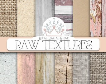 "Textured digital paper: "" RAW TEXTURES"" with textured paper, wood, burlap, concrete textures, backgrounds for scrapbooking, cards"